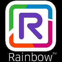 Rainbow Logo mit Wortmarke und Warenzeichen