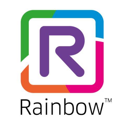 Rainbow logo black text white background product showcase image