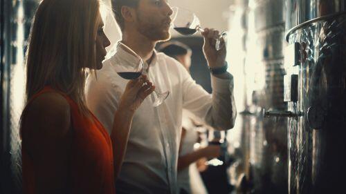 People wine tasting in wine-making room for blog post