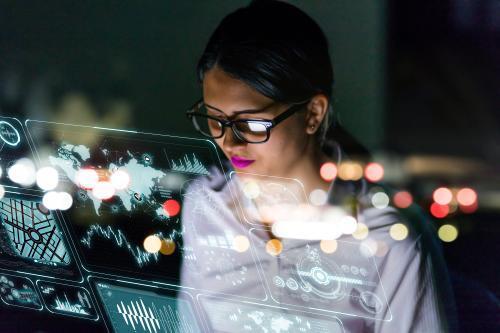 Woman monitoring computer for blog post